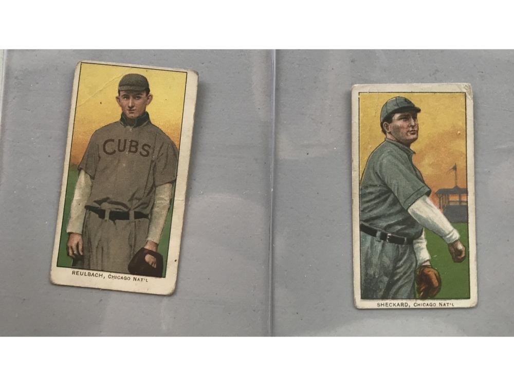 Two T206 Cards Sheckard, Reulbach