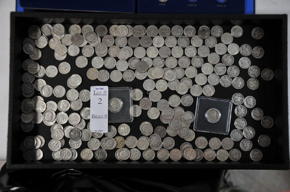 silver dimes $23.80 in face value to include  $4.20 mercury dimes some dates 1916 to 1945