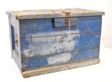 Antique Monogrammed Tool Box Old Blue Paint