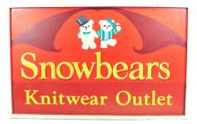 Snowbears Knitting Outlet Vintage Trade Sign