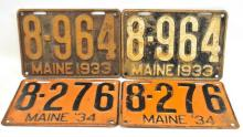Two Sets of Vintage Maine License Plates