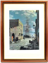 A signed print by John Stobart in a