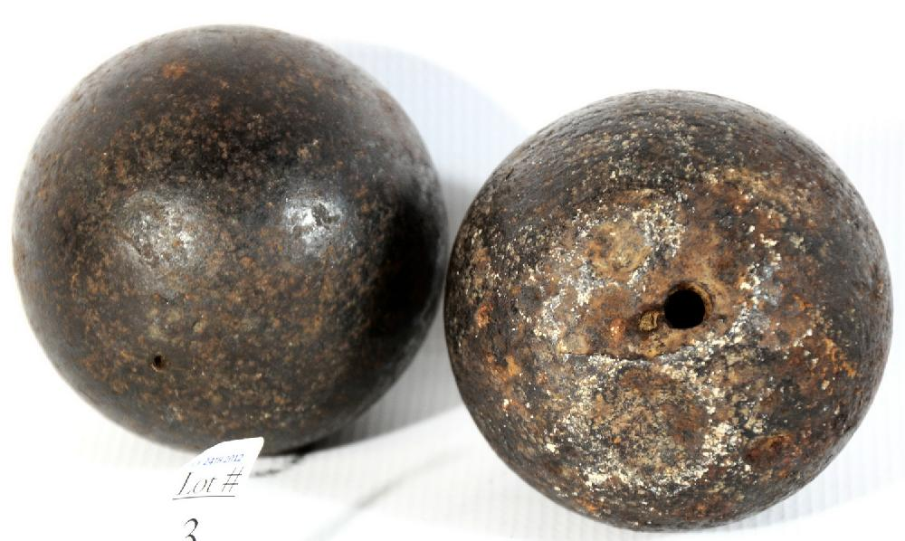 2 US Civil War Solid Shot 5lb and 6lb Cannon Balls