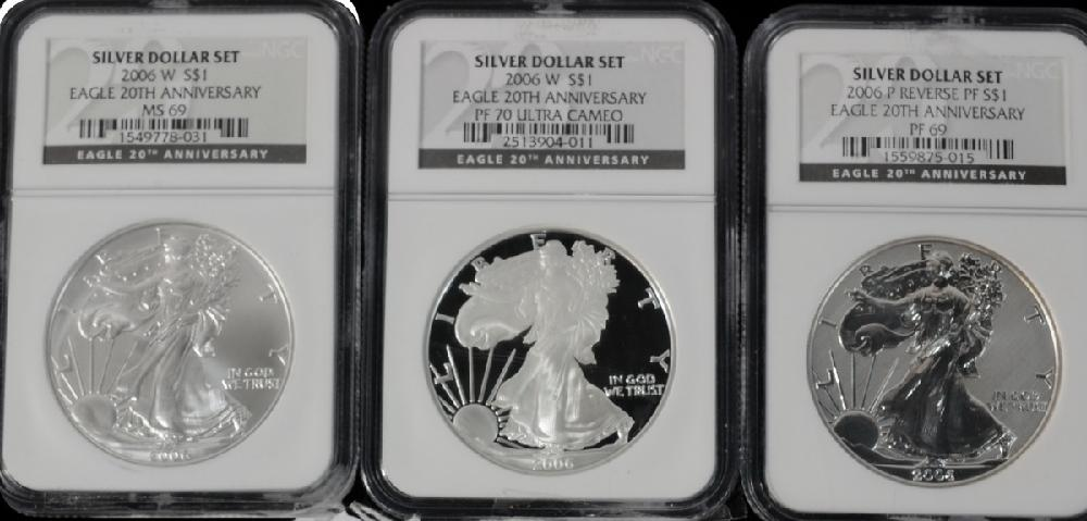 20th Anniversary Silver Eagle Coin set including 2006 W MS69, 2006 Reverse Proof PF 69, 2006 Proof Ultra Cameo PF70