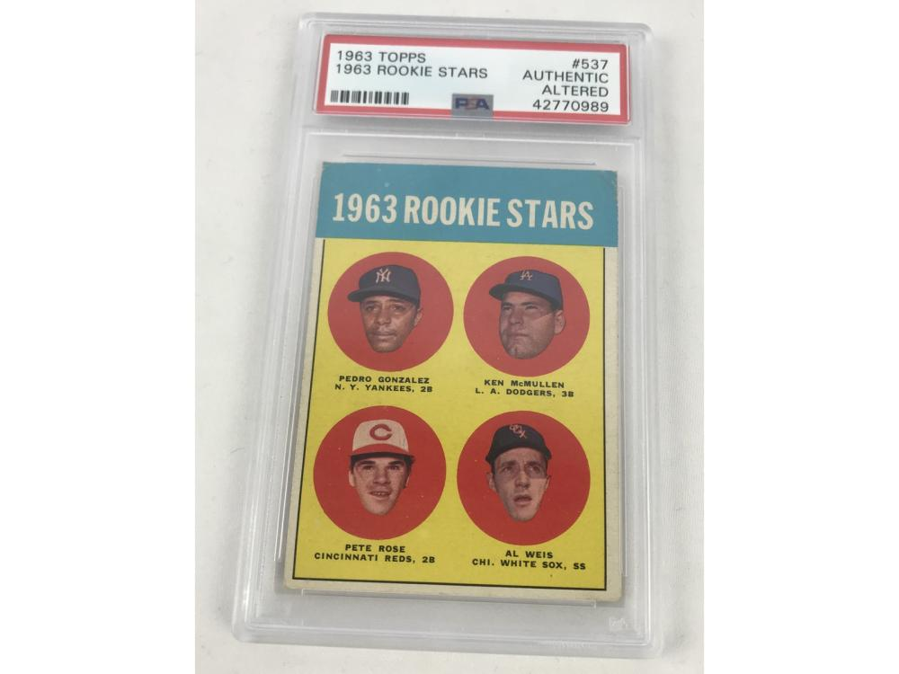 Lot 5: Psa (authentic) 1963 Topps Pete Rose Rookie