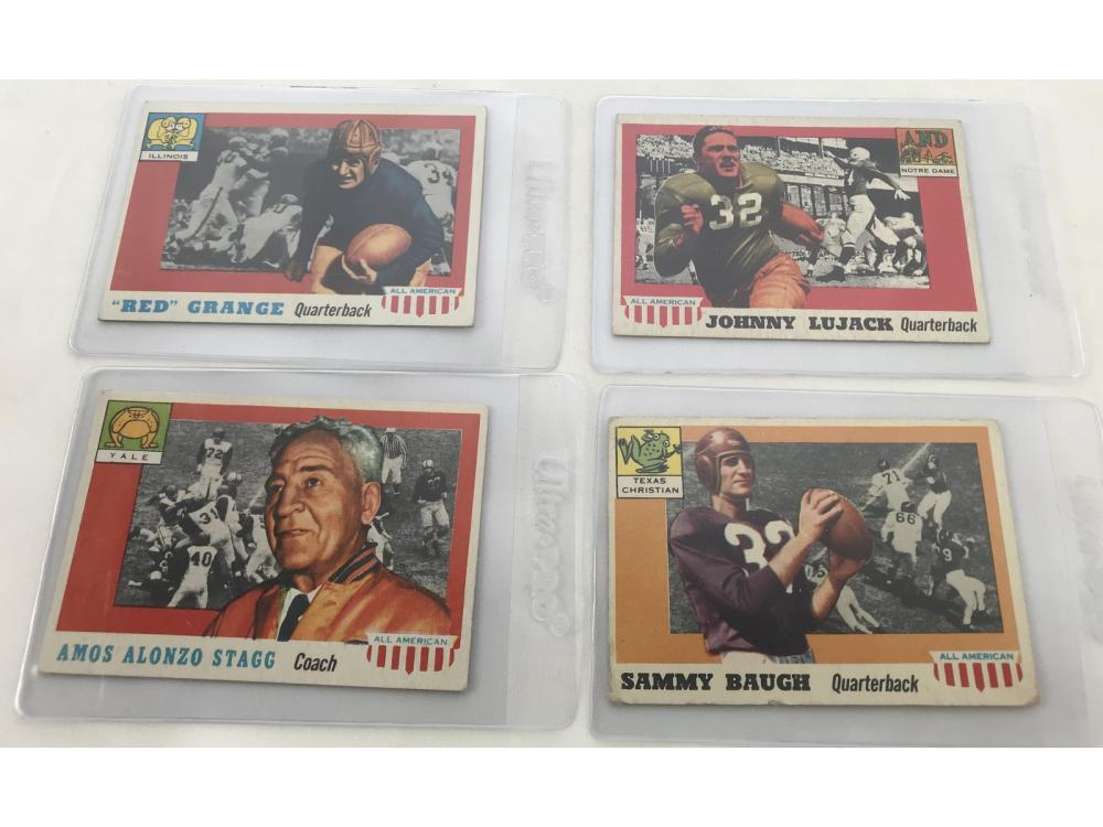 (4) 1955 Topps All American Key Cards