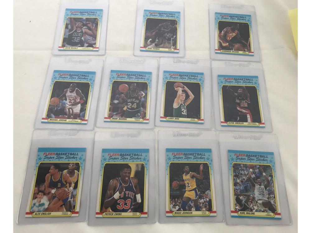 Lot 8: 1988 Fleer Basketball Sticker Set With Psa Cards