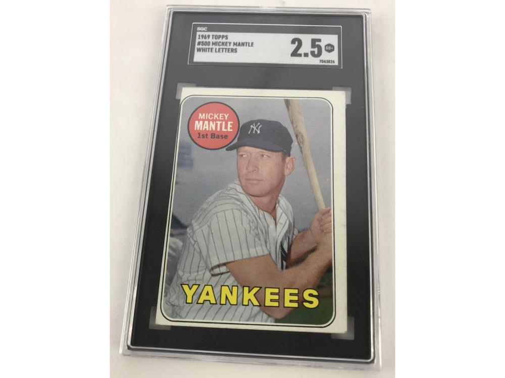 Sgc 2.5-1969 Topps Mickey Mantle (white Letters)