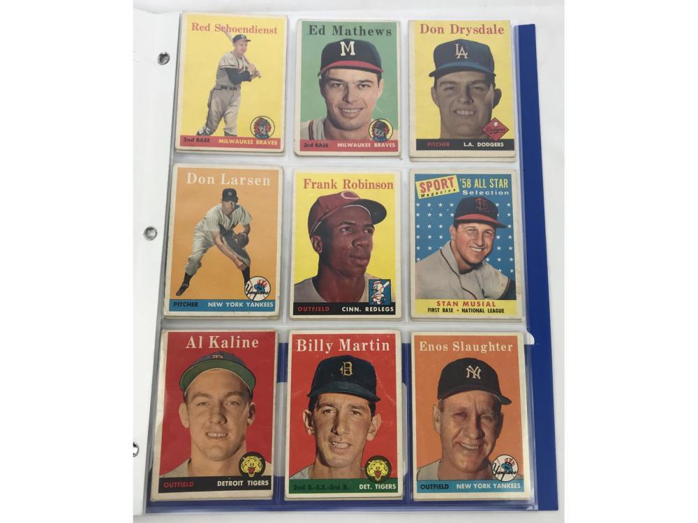 (18) 1958 Topps Hofs/stars Lot Bv $850 Mix Grade