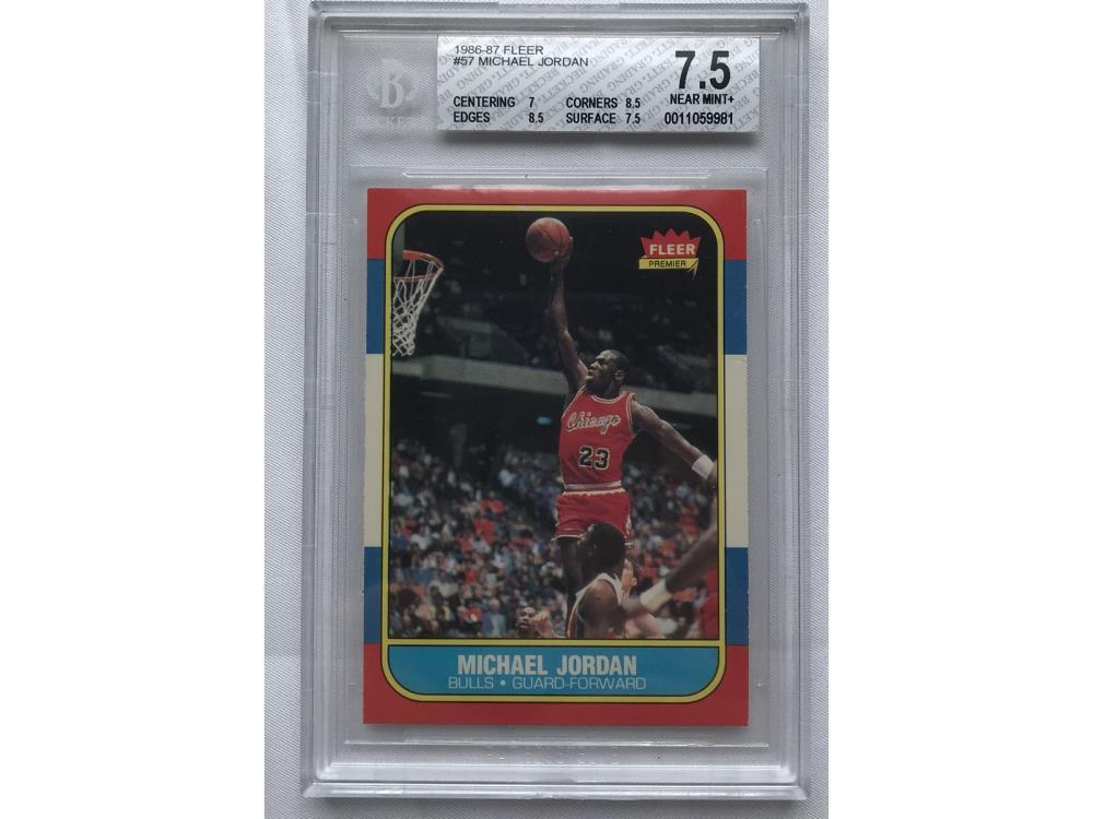 1986 Fleer Michael Jordan Rookie Bgs 7.5