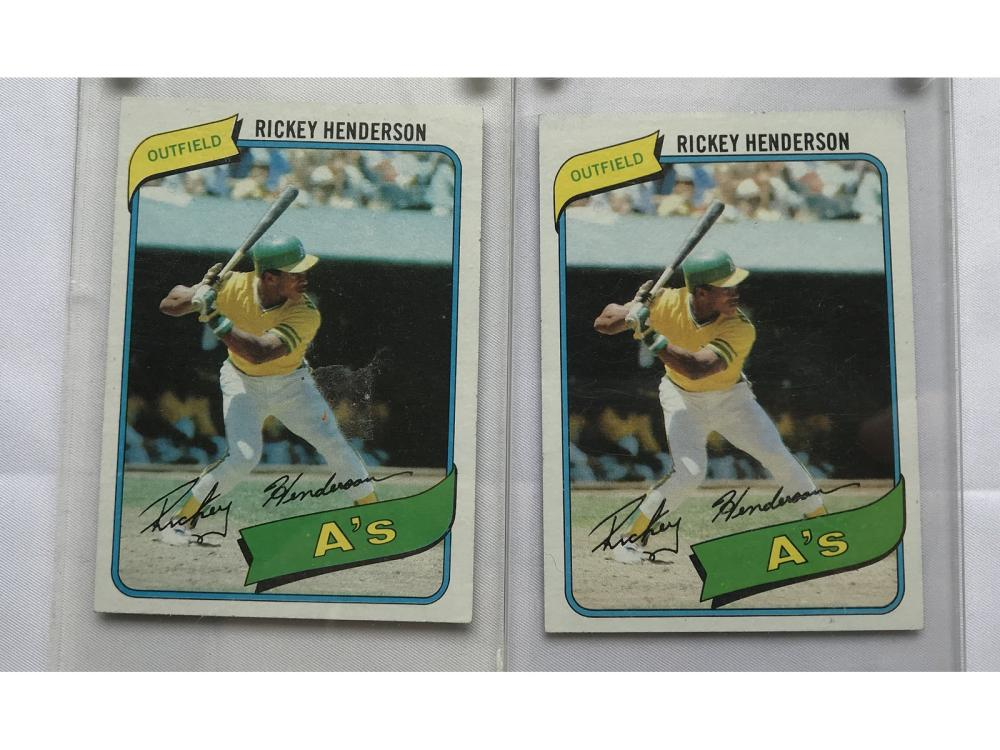 Two 1980 Topps Rickey Henderson Rookies