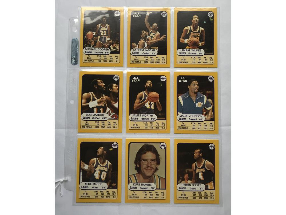 1987 Jmc La Lakers Team Set 9 Cards
