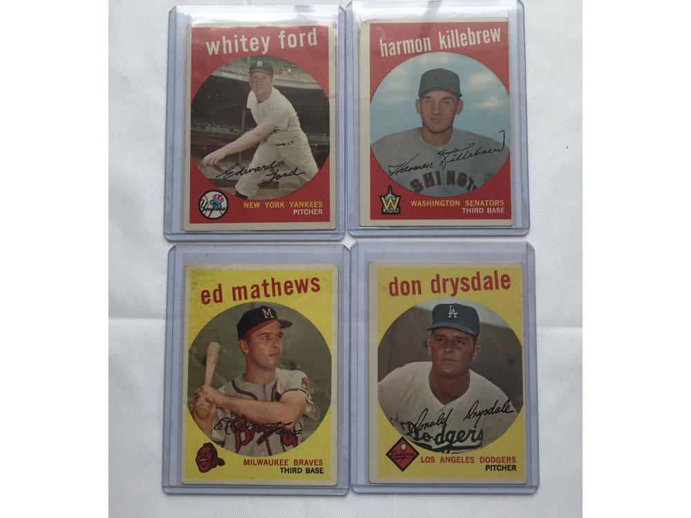 Four 1959 Topps Hall Of Famers