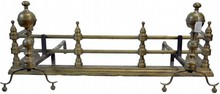 Brass and Iron Fireplace Fender and Andirons