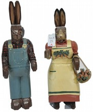 Pair of Hand Painted Carved Rabbits