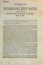 1879 Senate Debate Of Jefferson Davis Army Pension