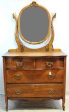 2 Over 2 Oak Vintage Dresser With Mirror On Wheels