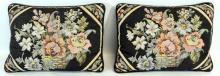 3 Vintage Hat Boxes/ 2 Floral Needle Point Pillows