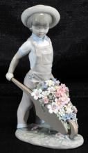 Lladro Little Gardener Boy W/flowers