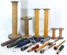 20 Vintage Different Size Wooden Spools