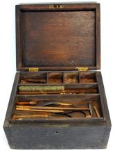 Antique Wooden Small Tool Box With Few Small Tools