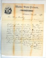 Three 1870's Maine State Prison Letters