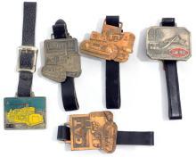 5 Original 1950's Heavy Equipment Watch Fobs