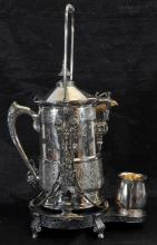 Antique James W. Tufts Ornate Silver Plate Coffee