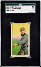 1909 T206 Sam Crawford Sgc 40 Vg 3