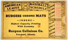 1939  Burgess Chrome Mats Baseball Schedule