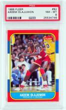 1986 Fleer Akeen Olajuwon Rookie PSA 8