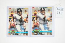 Two 1991 Stadium Club Brett Favre Rookie Cards