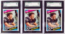 Three 1984 Howie Long Rookie Cards Graded