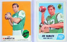 Four Vintage Joe Namath/Johnny Unitas Cards