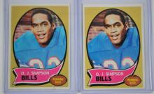 6 1970 Topps Football OJ Simpson Rookie Cards