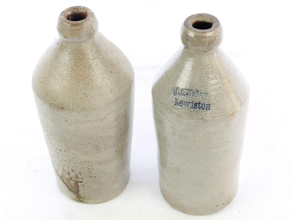 Two Antique Stoneware Bottles Lewiston Maine