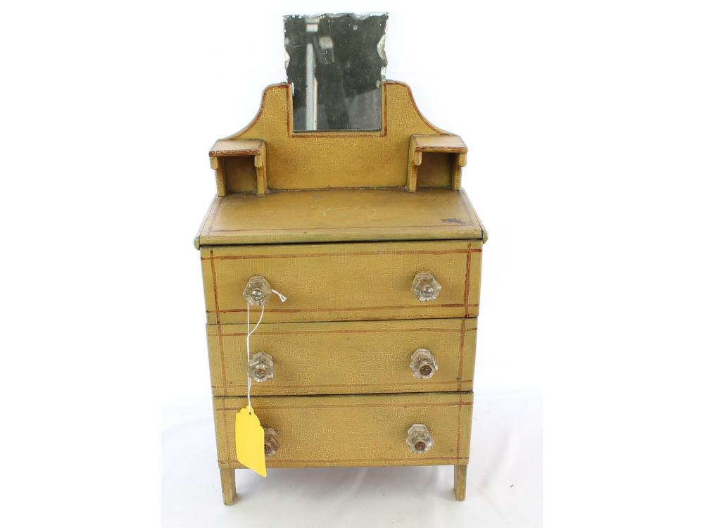 Antique Mustard Yellow Dolls Bureau With Mirror