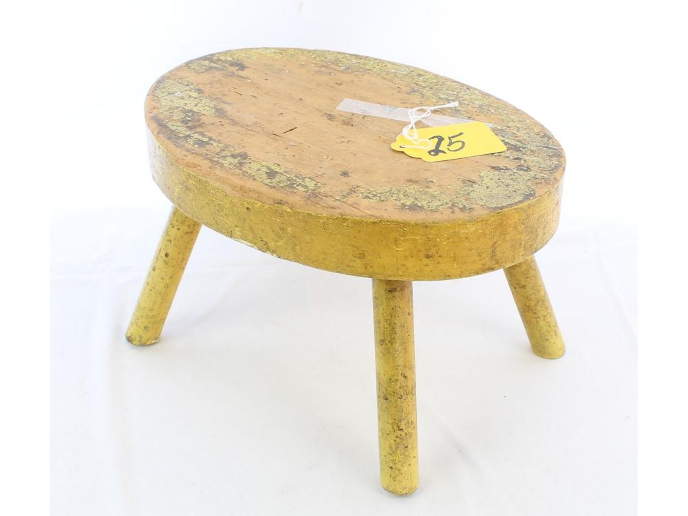Antique Oval Foot Stool In Old Yellow Paint