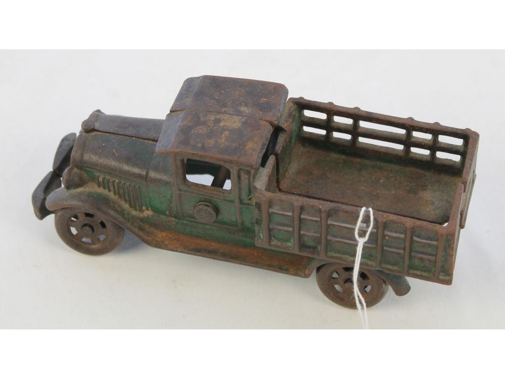 "Antique 7"" Cast Iron Stake Truck"
