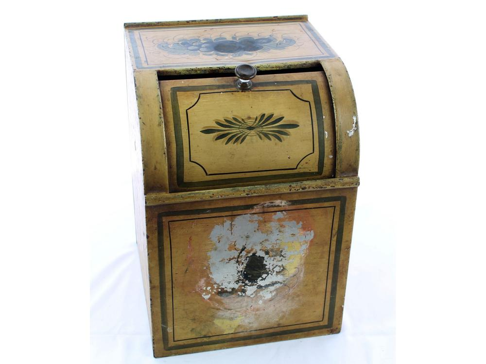 Antique Tea Tin With Yellow Paint Decoration