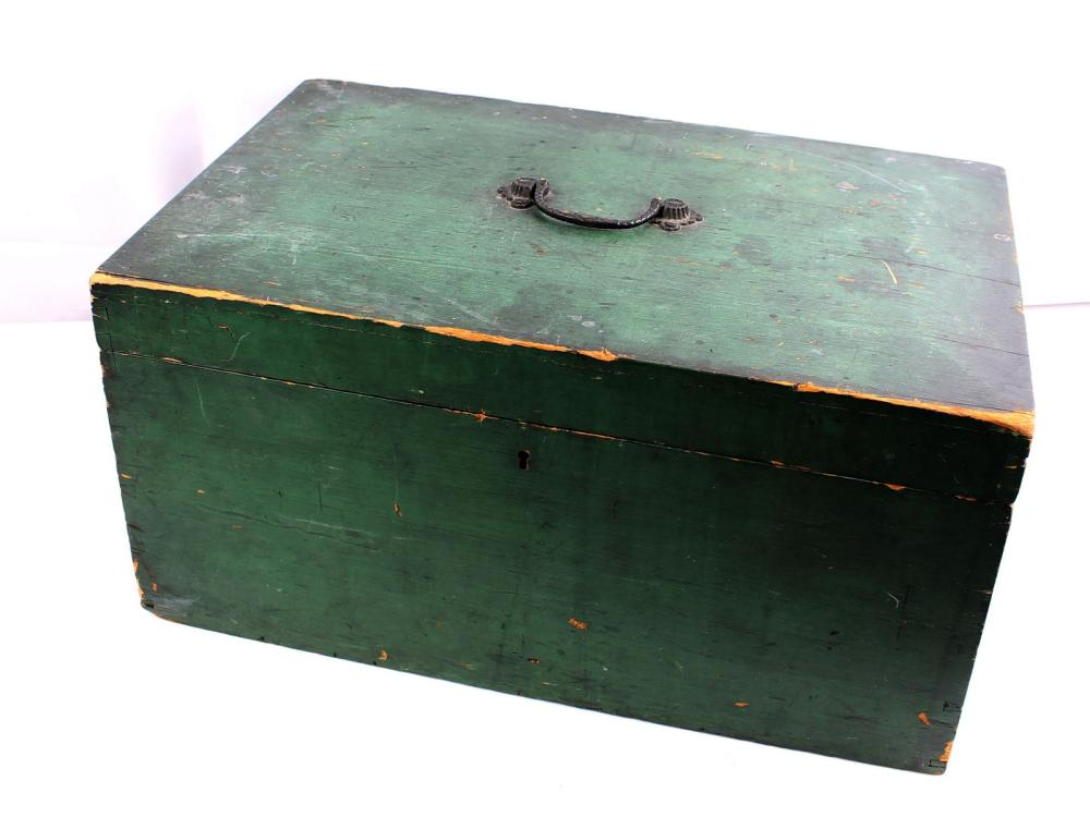 19th Century Green Painted Lift Top Box