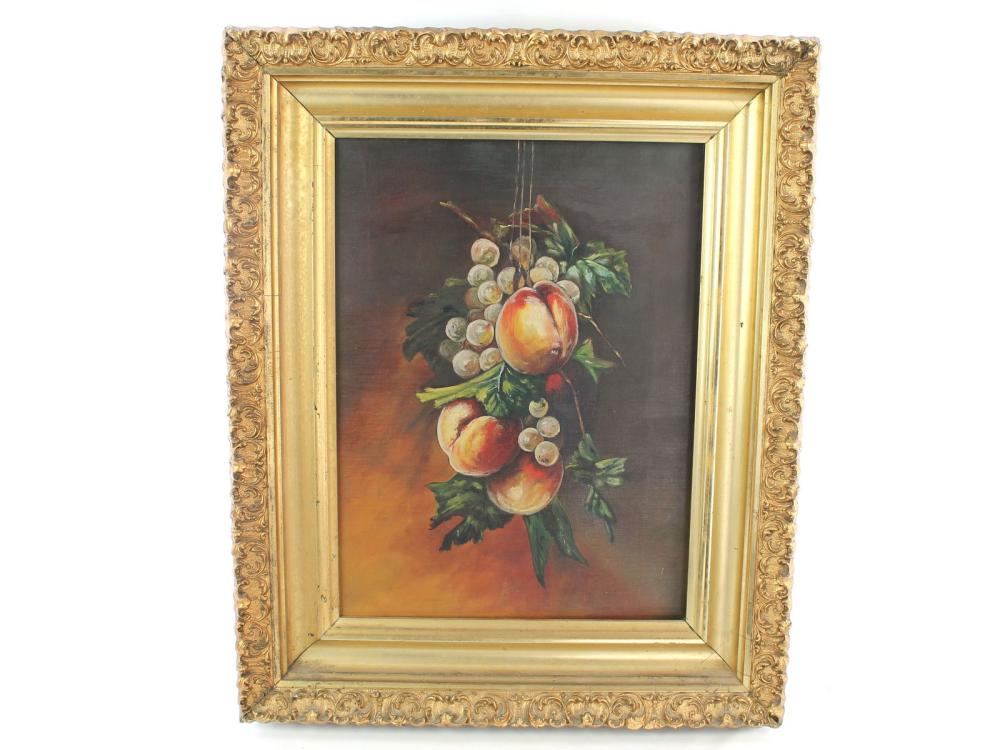 Antique Oil On Canvas Still Life Circa 1880
