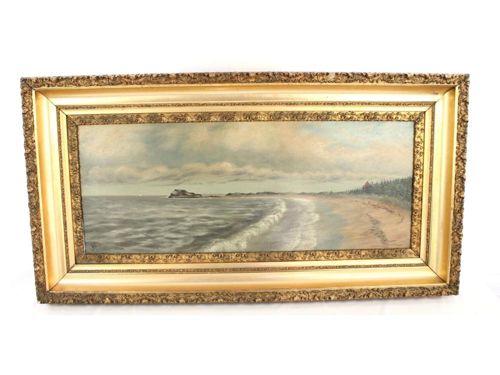 Antique Oil On Canvas Maine Ocean Scene