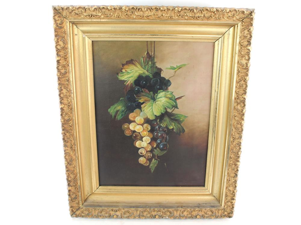 Antique Oil On Canvas Still Life Late 19th Century