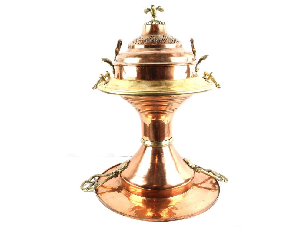 Large Three Piece Copper And Brass Brazier