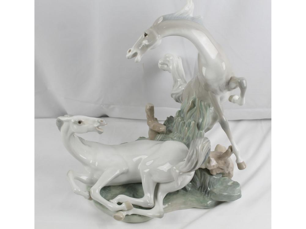 Rare Lladro 4597 Of Two Horses