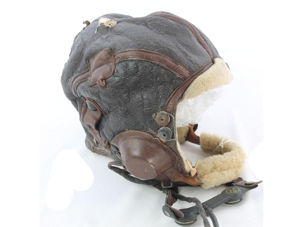 Vintage Leather Pilots Helmet