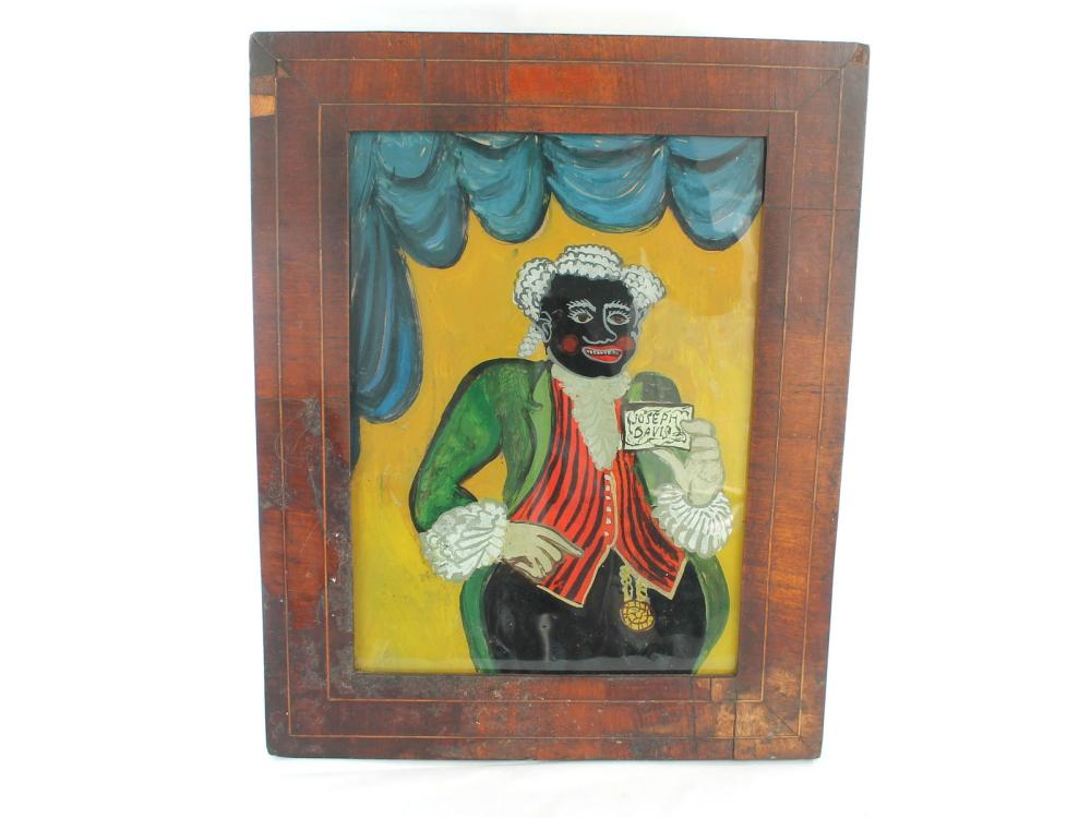 Antique Joseph Davis Black Painting On Glass