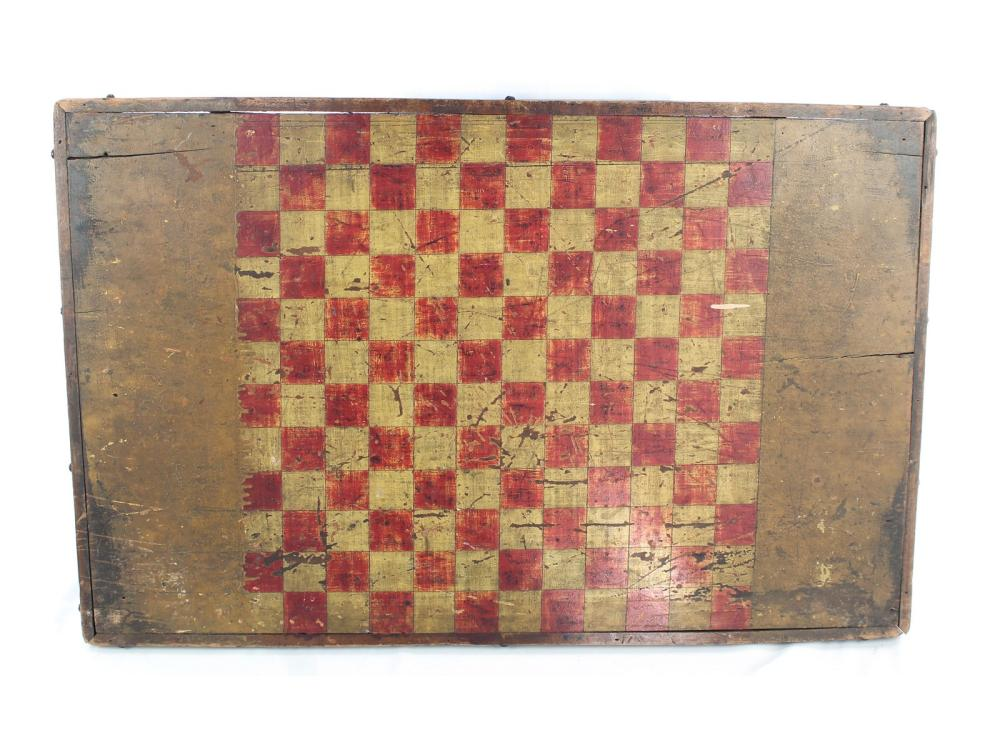 Antique Maine Checker Board Old Red/mustard