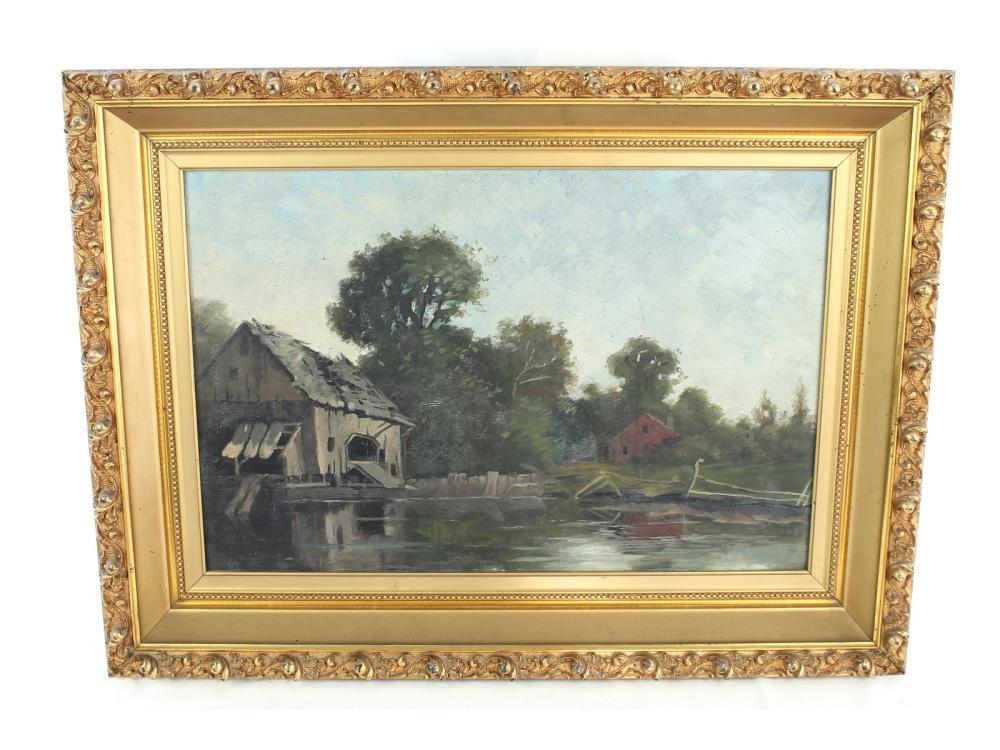 Antique Oil On Canvas Mill Scene F.m. Crosby